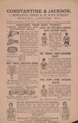 Advert For Constantine & Jackson, Abdominal Supports reverse